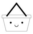kawaii shopping basket in black silhouette vector image vector image