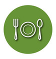 line icon of tableware fork plate and tablespoon vector image