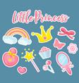 little princess set modern fashionable stickers vector image vector image