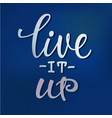 live it up lettering typography calligraphy vector image vector image