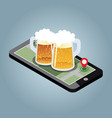 looking for bar mobile searching isometric vector image