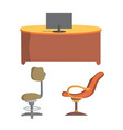 office chair and desk flat design vector image vector image