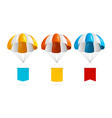 realistic detailed 3d color parachute and banner vector image vector image