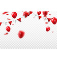 red balloons confetti concept design template vector image vector image