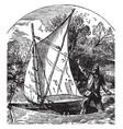 robinson cruising in his boat vintage vector image vector image