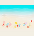 sandy beach with different accessories top view vector image vector image