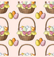 seamless pattern with easter baskets and eggs vector image