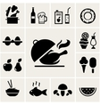 set black silhouette food icons vector image