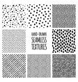 set hand-drawn seamless black and white vector image vector image