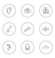 Set of 9 editable trip icons includes symbols