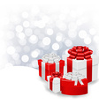 Silver Bokeh Xmas Wallpaper With Gift Box vector image