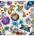 stylized flowers and birds seamless pattern vector image vector image