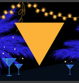 synthwave summer party card with triangle garland vector image vector image