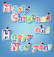 text of merry christmas with pin vector image vector image