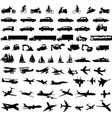transportation silhouettes collection vector image vector image