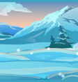 two bent spruce on background snow on a vector image vector image