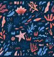 underwater world flat hand drawn seamless pattern vector image vector image