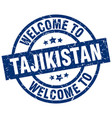 welcome to tajikistan blue stamp vector image vector image