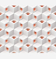 white red cubes isometric seamless pattern vector image vector image