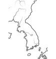 world map korea south korea north korea vector image vector image