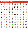 100 people icons set isometric 3d style vector image