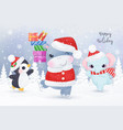 adorable christmas greeting card with animal vector image vector image