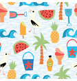 background beach icons flat seamless vector image
