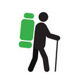 backpacker silhouette icon vector image