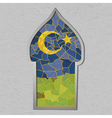 Beautiful mosque in colored stained glass with vector image vector image