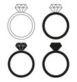 black and white diamond ring silhouette set vector image