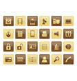 business and office icons over brown background vector image vector image