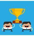 Business Men Holding Giant Trophy vector image