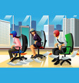 businesspeople having a chair race vector image