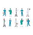 collection of male medical workers dressed vector image vector image