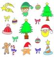 Cute color christmas set doodle element vector image vector image