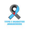 diabetes type 1 awareness papercut ribbon vector image vector image