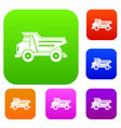 dump truck set color collection vector image vector image