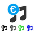 euro music notes flat icon vector image vector image