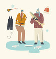 fishermen characters in warm clothes fishing on vector image