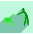 Flat with shadow icon and mobile application cargo vector image vector image
