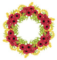 Frame of flowers arranged in a circle vector image vector image