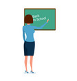 girl teacher with pointer and school journal in vector image