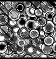 grunge black and white background with round vector image vector image