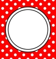 Hand drawn frame with polka dots on red background vector image