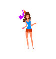 happy young woman in a party hat cartoon vector image vector image