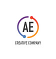 initial letter ae creative circle logo design vector image vector image