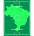 Map of Brazil on soccer field vector image vector image