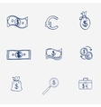 Money icons set doodle sketch hand draw Finanse vector image