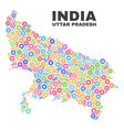 mosaic uttar pradesh state map of cog items vector image vector image