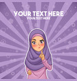 muslim woman with a raised hand with finger up vector image vector image